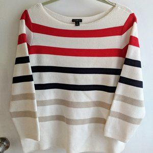 Ann Taylor Factory Striped 3/4 Sleeve Sweater, M